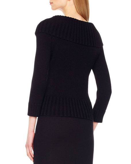 Rib-Trim Wool Sweater