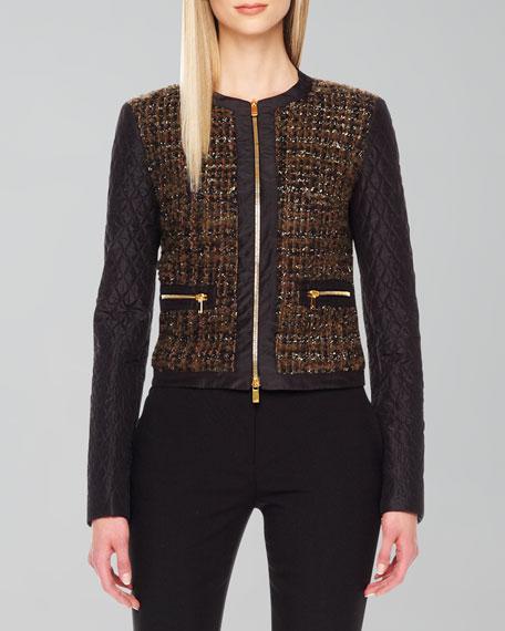 Shimmery Boucle Zip Jacket
