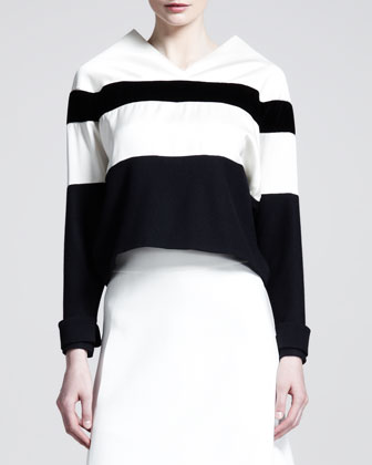 Striped Peak-Neck Sweater