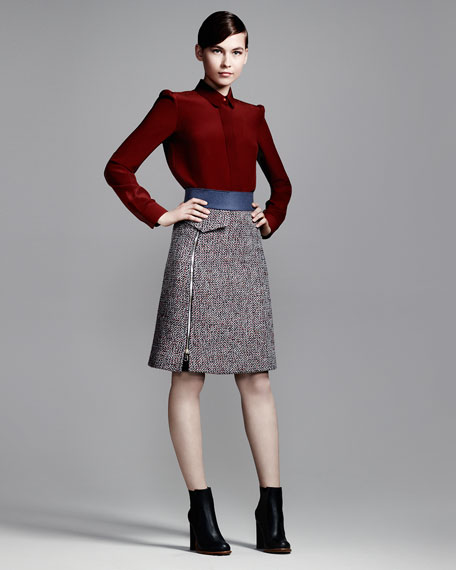 A-Line Right-Zip Tweed Skirt