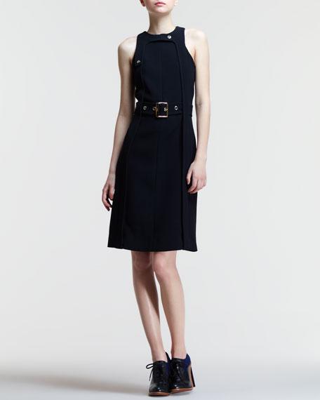 Belted Snap-Strap Racerback Dress