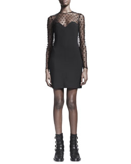 Saint Laurent Long-Sleeve Sheer Lace-Top Dress