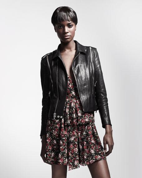 Leather Zip-Trim Biker Jacket