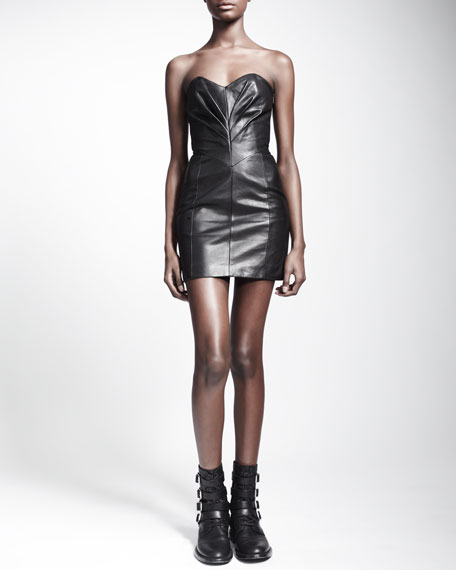 Strapless Pleated Leather Dress
