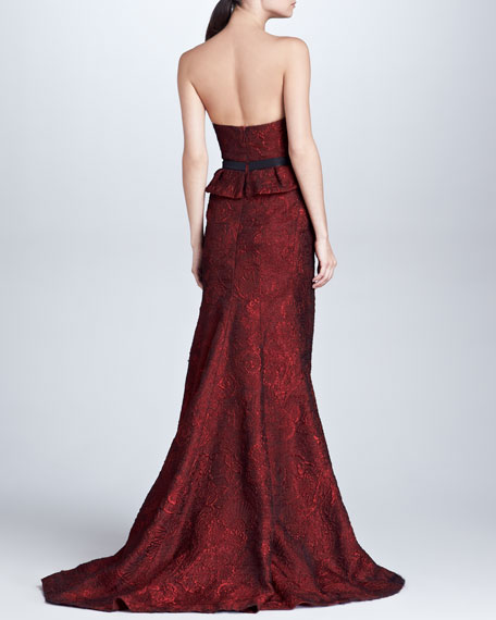Organza Jacquard Bustier Gown, Scarlet
