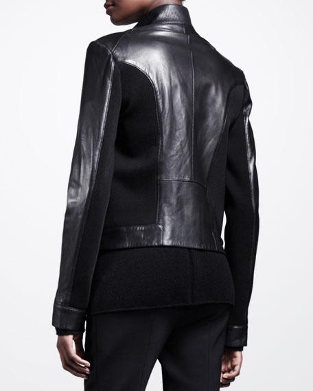 Knit-Panel Leather Moto Jacket