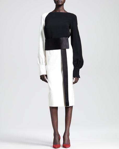 Two-Tone Mid-Length Obi Skirt