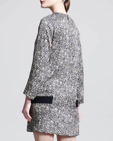 Tweed-Print Jacquard Drop-Waist Shift Dress