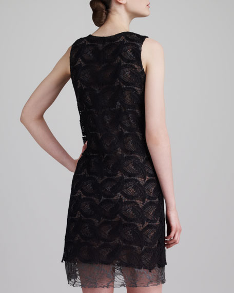 Guipure Lace Shift Dress, Black