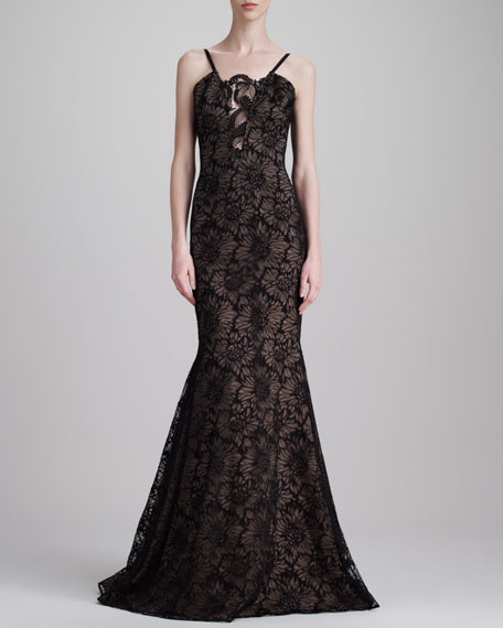 Floral Chantilly Lace Gown, Black