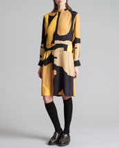 Marni Printed Mandarin Collar Dress, Gold Sand