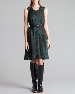 Marni Round-Neck Printed Charmeuse Dress, Forest