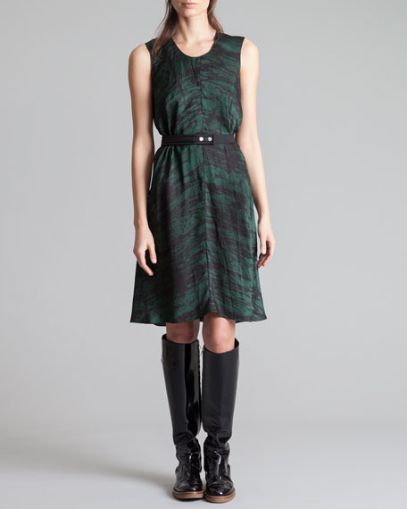 Round-Neck Printed Charmeuse Dress, Forest