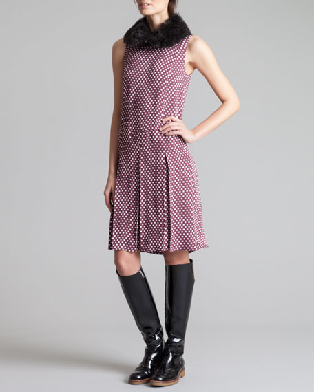 Houndstooth-Print Pleated Dress, Wine/White