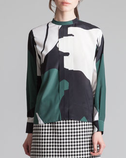Marni Printed Back-Button Mandarin-Collar Blouse, Emerald