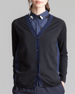 Marni V-Neck Bicolor Cardigan, Black/Coal