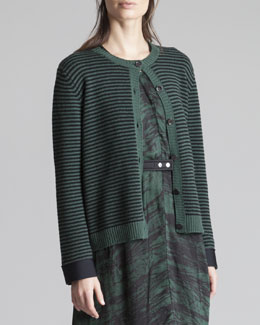 Marni Striped Neoprene-Cuff Cardigan, Green/Gray