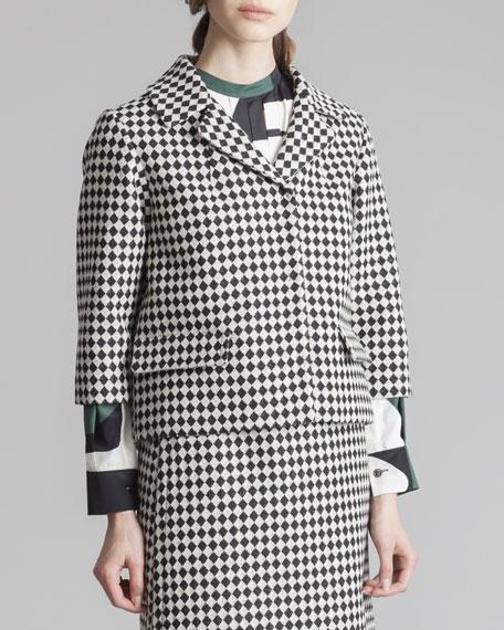 Cropped Check Jacket, Black/White