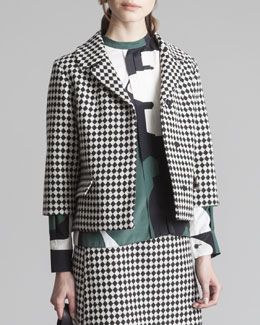 Marni Cropped Check Jacket, Black/White