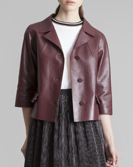 Marni Cropped Leather 3/4-Sleeve Jacket, Bordeaux
