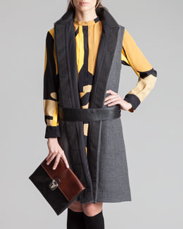 Marni Belted Hidden-Placket Gilet, Hematite