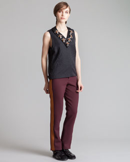 Marni Straight-Leg Tuxedo Pants, Bordeaux/Gold