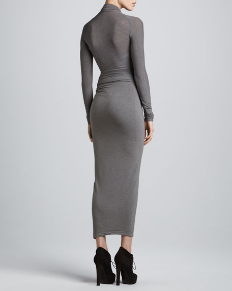 Draped Plunging-Neck Midi Dress, Pewter