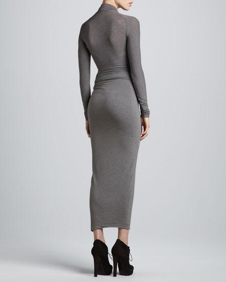 Draped Plunging-Neck Midi Dress, Pewter