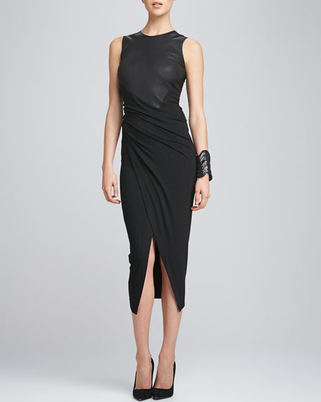 Sleeveless Leather & Draped Jersey Dress, Black