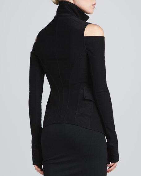 Cold-Shoulder Jacket, Black