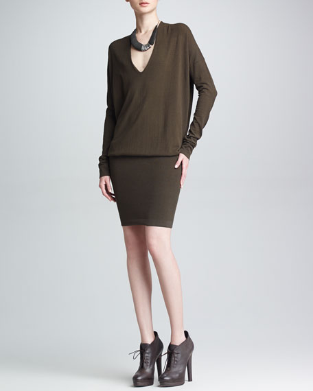 Long-Sleeve V-Neck Blouson Dress, Flint