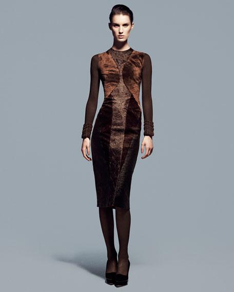 Long-Sleeve Crewneck Collage Dress, Henna