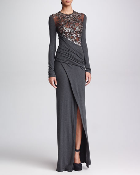 Long-Sleeve Sequined Jersey Gown, Gunmetal