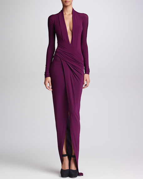 Plunging-Neck Long-Sleeve Gown, Amethyst