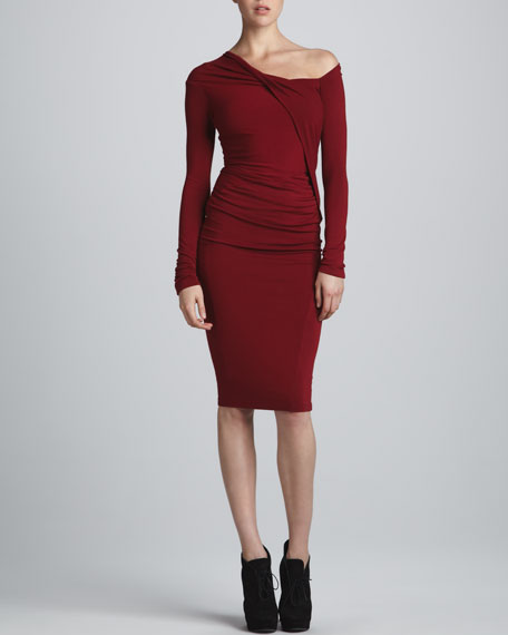 One-Shoulder Draped Dress, Red