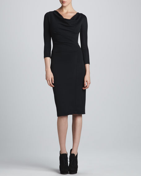 Three-Quarter-Sleeve Draped Dress