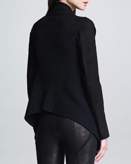 Suede-Sleeve Drape-Front Cozy