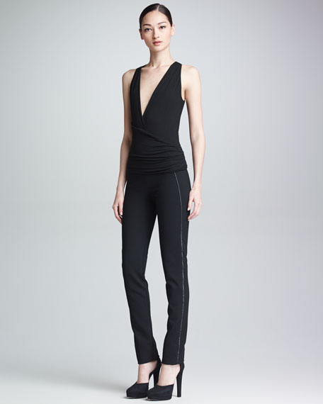 Slim Leather-Stripe Straight-Leg Pants, Black