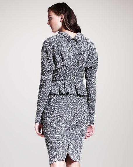 Tweed Pull-On Pencil Skirt, Gray/Black