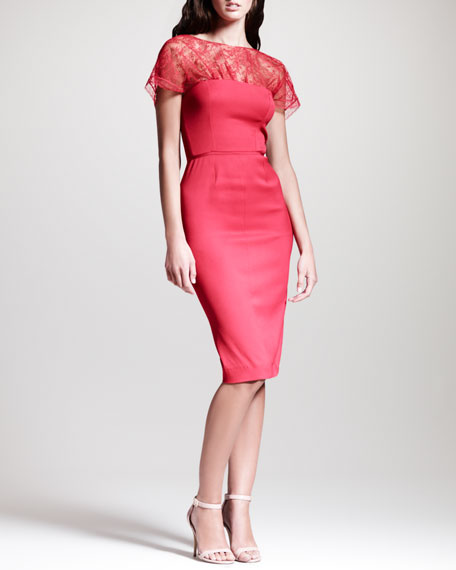 Short-Sleeve Lace-Top Sheath Dress, Red