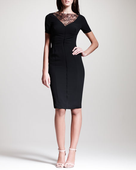 Lace-Trimmed Crepe Sheath Dress, Black