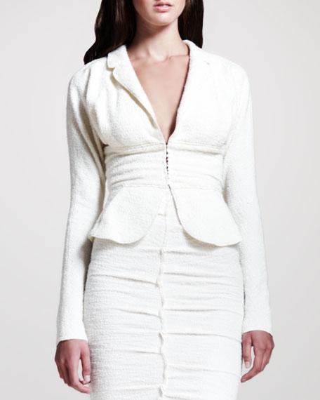Tweed Peplum Jacket, Cream