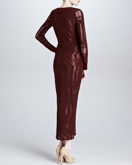 Long-Sleeve Floor-Length Metallic-Print Dress, Bordeaux