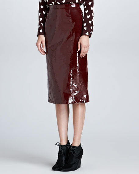 Laminated Leather Pencil Skirt