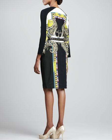 Printed Pleated Bracelet-Sleeve Dress