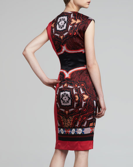 Printed Charmeuse Keyhole Dress, Red