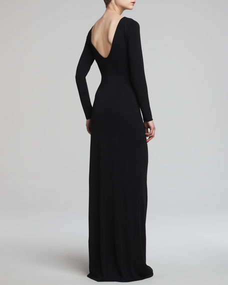 Scoop-Back Gown with Beaded Embellishment