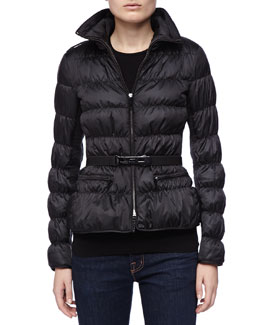Belted Puffer Coat with Hidden Hood