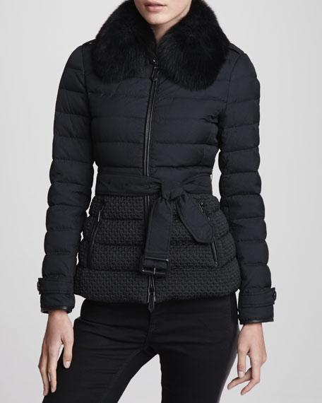 Fox Collar Short Puffer Jacket