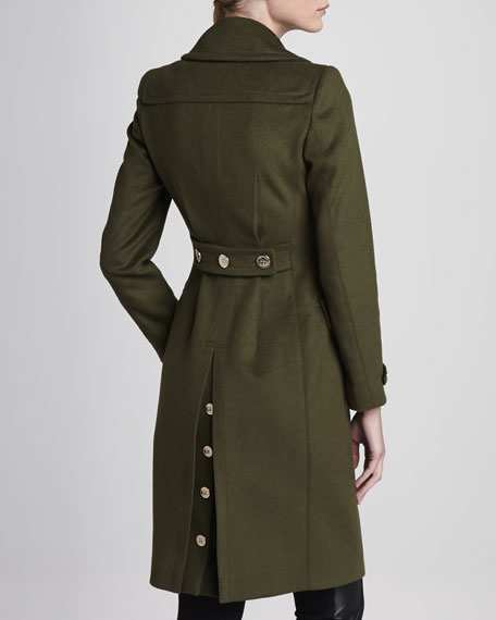 Wool-Cashmere Military Coat, Olive